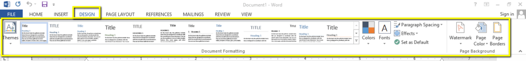 Design tab- MS word how to use