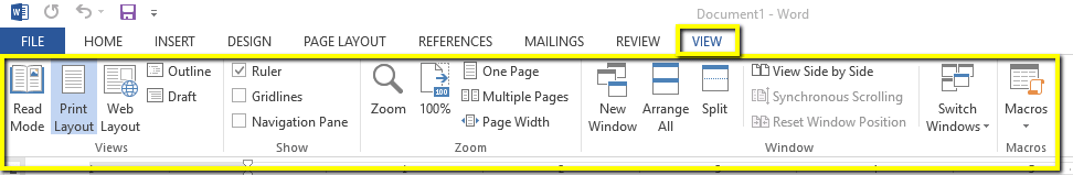 Uses of View tab in MS Word Hindi
